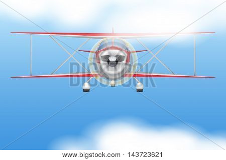 Front view of Vintage Civil Light Airplane flying in the sky. Vector Illustration isolated on background.