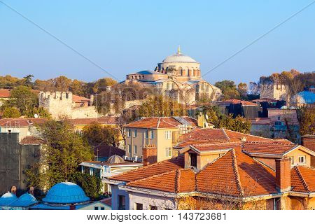 Urban Panorama of Old City Istanbul with ancient Walls and Buildings examples of Byzantine and Ottoman Architectures