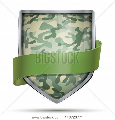 Shield with Camouflage. Editable Vector Illustration isolated on white background.