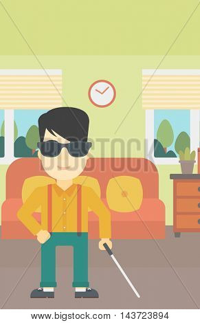 An asian blind man standing with walking stick. Young man in dark glasses with cane standing in the living room. Vector flat design illustration. Vertical layout.