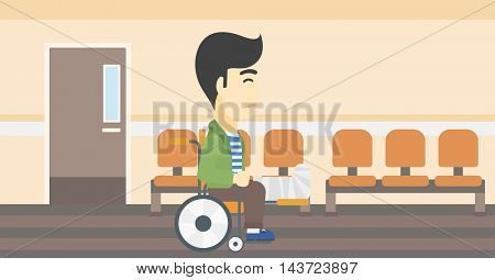An asian injured man with leg in plaster. Man with broken leg sitting in wheelchair. Man with fractured leg in the hospital corridor. Vector flat design illustration. Horizontal layout.