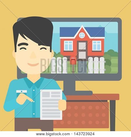 An asian man standing in front of tv screen with house photo on it and pointing at a real estate contract. Concept of signing of real estate contract. Vector flat design illustration. Square layout.