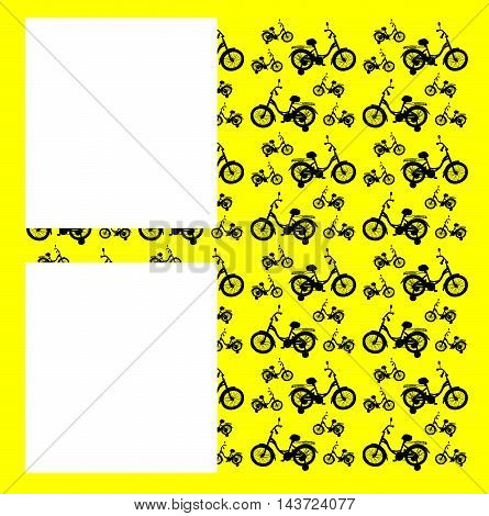 Vector abstraction. In the background a yellow background and the bikes black. In the foreground two white square.