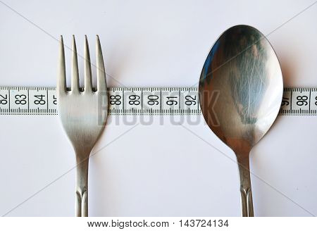 Time for dinner on diet. Spoon and far.