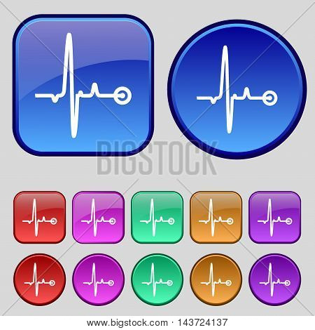 Heartbeat Icon Sign. A Set Of Twelve Vintage Buttons For Your Design. Vector