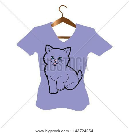 T-Shirt stylish Design with black outline persian cat  with blue eyes on the light violet background.