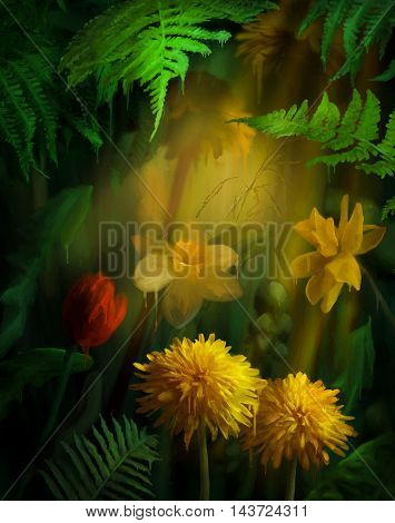 Watercolor flowers with paint drips. Floral digital painting. Daffodils, Tulip, Dandelions under the fern leaves