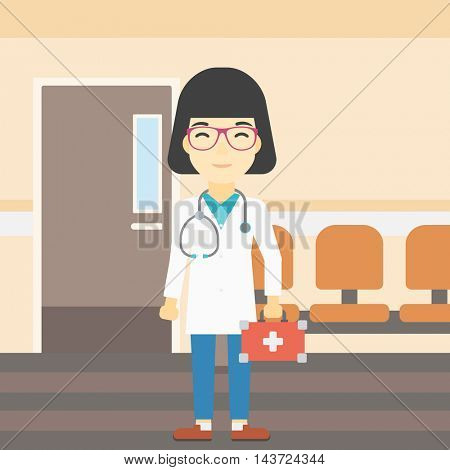 An asian female doctor holding first aid box. Doctor in uniform with first aid kit standing in the hospital corridor. Vector flat design illustration. Square layout.