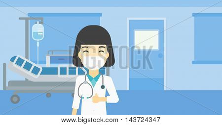 An asian female doctor in mask giving thumbs up. Happy doctor with thumbs up in the hospital room. Doctor showing thumbs up gesture. Vector flat design illustration. Horizontal layout.