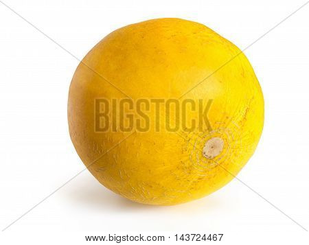 Yellow ripe melon with the texture of the skin lies on its side on a white background, isolated photo melon