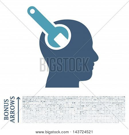 Brain Tool icon with 1200 bonus arrow and navigation pictograms. Vector illustration style is flat iconic bicolor symbols, cyan and blue colors, white background.