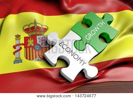 Spain economy and financial market growth concept, 3D rendering