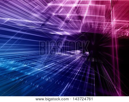 Abstract background element. Fractal graphics series. Three-dimensional composition of intersecting grids and motion blur. Information technology concept. Gradient toned image.
