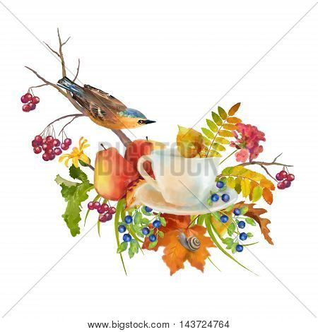 Watercolor autumn composition with cup, flowers, fall leaves, tree branch, bird on a white background