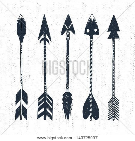 Hand drawn tribal icons set with textured arrows vector illustrations.