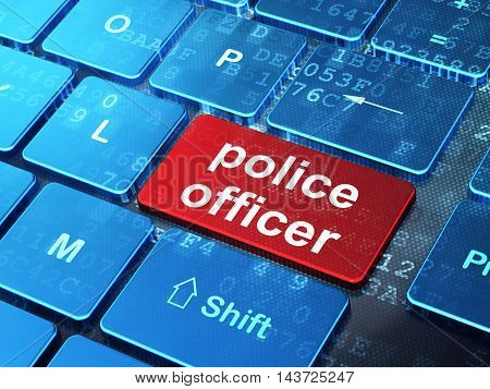 Law concept: computer keyboard with word Police Officer on enter button background, 3D rendering