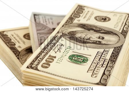 American Dollars Isolated On White Closeup