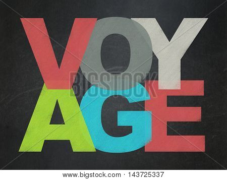 Vacation concept: Painted multicolor text Voyage on School board background, School Board
