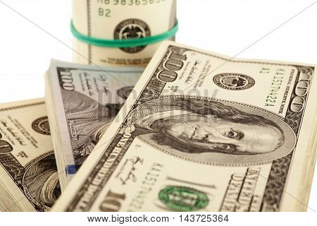 Us Dollars Isolated On White Closeup