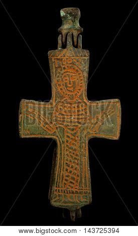 Ancient Copper Byzantine Cross In Brown Patina