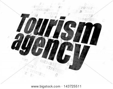 Vacation concept: Pixelated black text Tourism Agency on Digital background