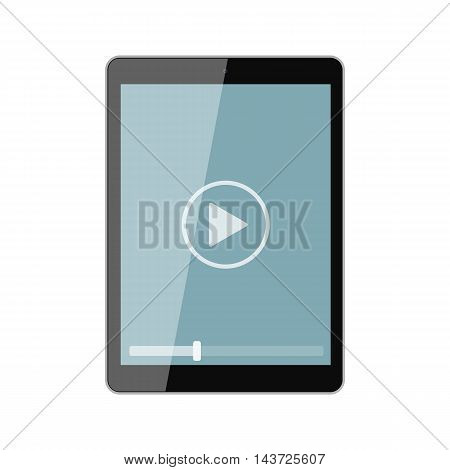 Isolated tablet screen with play button on white background. Concept of video, audio playback, multimedia, stream.