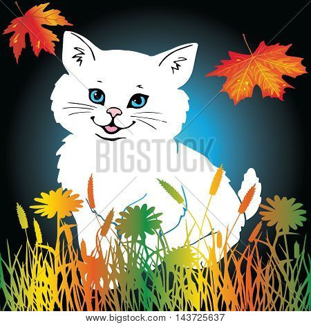 Funny beautiful vector illustration with white nice smiling persian kitten with light blue eyes, pink nose, pink tongue on the green yellow orange autumn grass and leaves on the dark blue background.