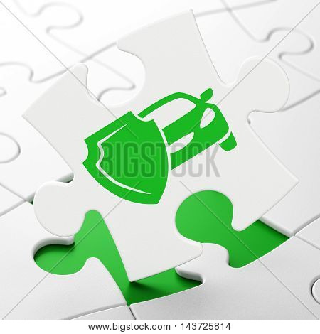 Insurance concept: Car And Shield on White puzzle pieces background, 3D rendering