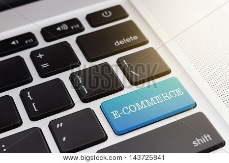 E-COMMERCE : Close up green button keyboard computer