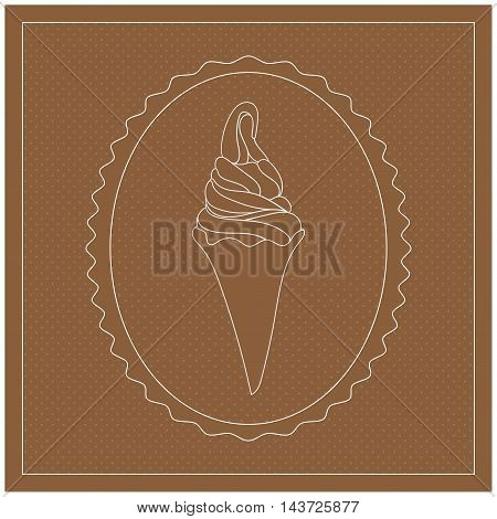 Ice Cream in waffle cone. Oval frame. White line element on brown background. Vintage retro label Design. Vector illustration.