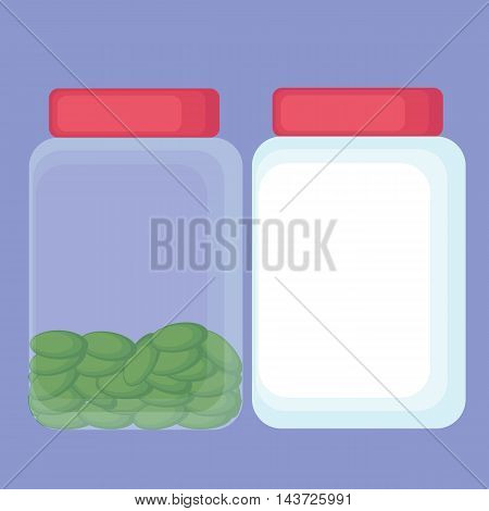 Cartoon bottle of pills or sweets and empty.