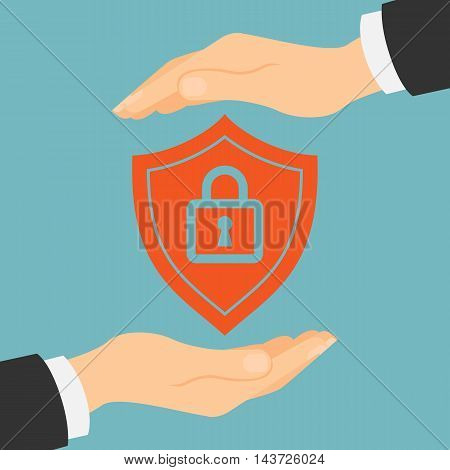 Protection shield lock concept. Symbol of safety and insurance.