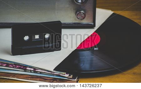 Old and vintage vinyl records and cassettes