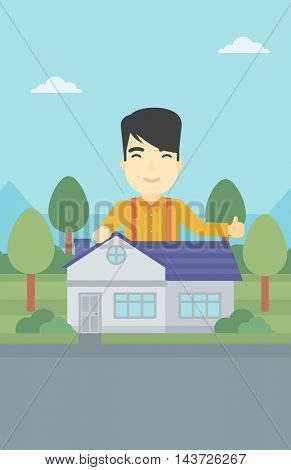 An asian young man standing behind the house and showing thumb up. Real estate agent offering the house. Young man giving thumbs up. Vector flat design illustration. Vertical layout.