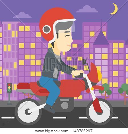 An asian young man in helmet riding a motorcycle on the background of night city. Man driving a motorbike on a city road. Vector flat design illustration. Square layout.