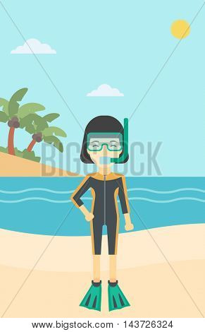An asian woman in diving suit, flippers, mask and tube standing on the beach. Female scuba diver on the beach. Woman enjoying snorkeling. Vector flat design illustration. Vertical layout.