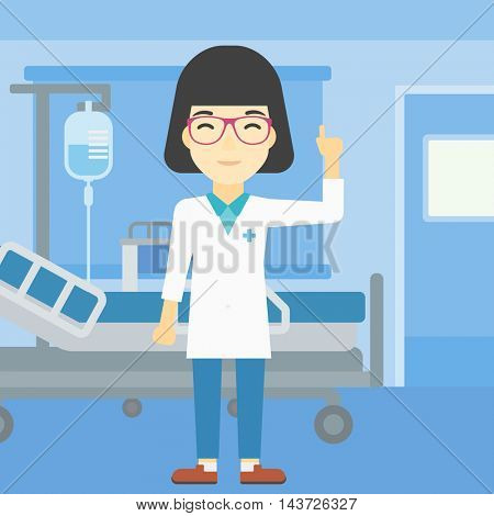 An asian female doctor in medical gown showing finger up. Doctor with finger up in the hospital ward. Woman in doctor uniform pointing finger up. Vector flat design illustration. Square layout.