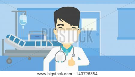 An asian doctor in mask giving thumbs up. Happy doctor with thumbs up in the hospital room. Doctor showing thumbs up gesture. Vector flat design illustration. Horizontal layout.