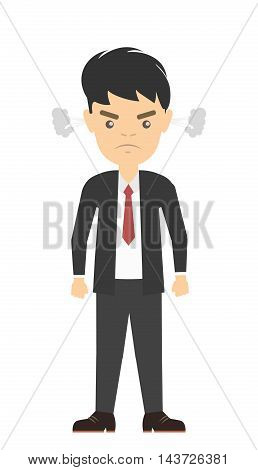 Isolated angry businessman. Stereotype of angry clerk. Full of stress and anger.