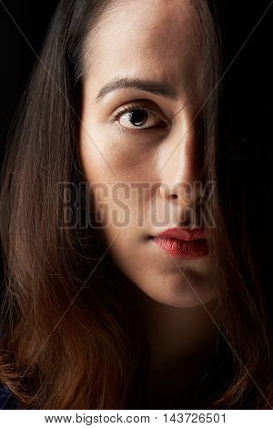 Close Up Of Woman Face Covered With Hair