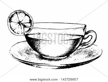 Hand drawn tea cup on white background. Black and white cup with saucer. Tea with lemon slice.