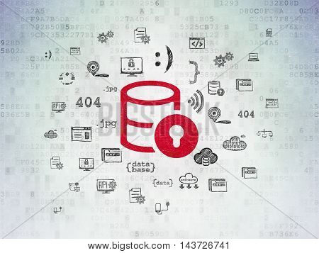 Programming concept: Painted red Database With Lock icon on Digital Data Paper background with  Hand Drawn Programming Icons