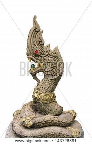 Golden King of Nagas (Dragon) statue isolated on white background in public place of worship Chonburi province Thailand.