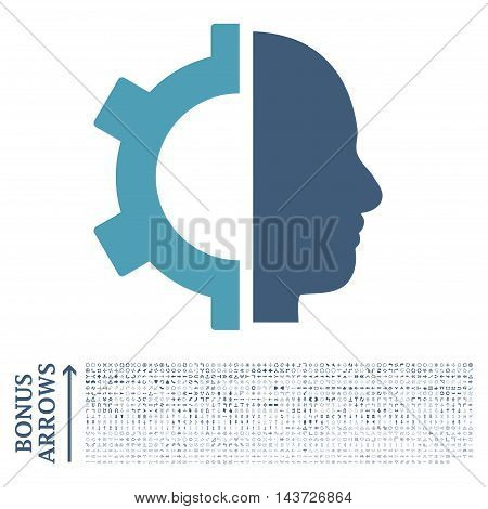 Cyborg Gear icon with 1200 bonus arrow and navigation pictograms. Vector illustration style is flat iconic bicolor symbols, cyan and blue colors, white background.