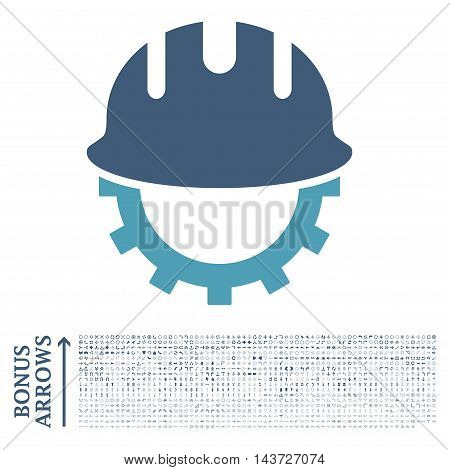 Development Hardhat icon with 1200 bonus arrow and navigation pictograms. Vector illustration style is flat iconic bicolor symbols, cyan and blue colors, white background.