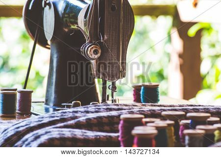 Vintage sewing machine and other sewing tools