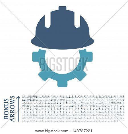 Development Helmet icon with 1200 bonus arrow and navigation pictograms. Vector illustration style is flat iconic bicolor symbols, cyan and blue colors, white background.