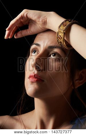 Girl With Hand On Head
