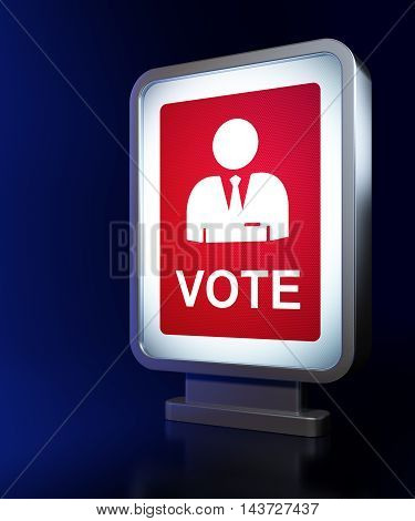 Politics concept: Ballot on advertising billboard background, 3D rendering