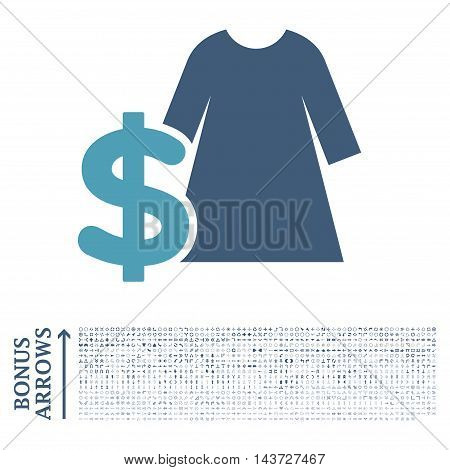 Dress Price icon with 1200 bonus arrow and navigation pictograms. Vector illustration style is flat iconic bicolor symbols, cyan and blue colors, white background.